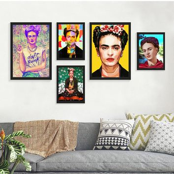 Frida Kahlo Portrait Printing Wall Art Canvas Impressionist Paintings Poster and Print Flower Canvas for Living Room Decor