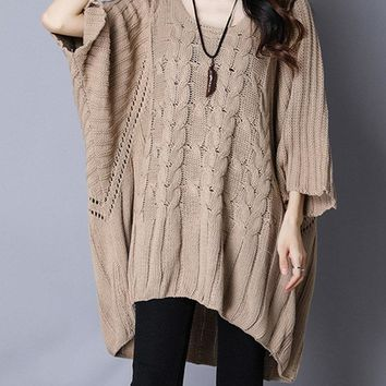 Casual Overhead Batwing Sleeve Sweaters For Women