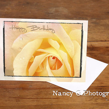 "Greeting Card, Rose Card, Yellow Pink Rose, Happy Birthday, 5""x7"", Card, Greeting Cards, Paper Goods, Note Card, Floral Card, Flowers"