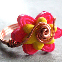 Flower Button Wire Wrapped Ring - Small layered