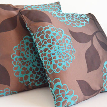 embossed velvet satin turquoise brown decorative modern patterned flowering home garden bedroom decor 18x18 inches pillows