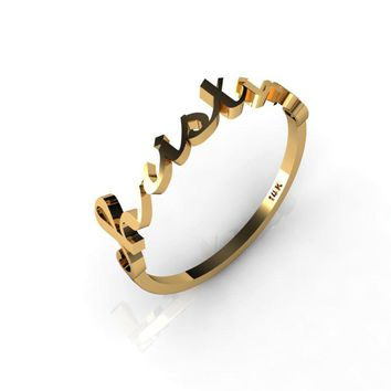 Tiny Name Ring 14K Yellow Gold, rose gold or white gold ring Personalized