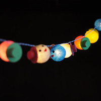 20 little smile boy classic hat cotton ball string light hanging rainbow multi color present kid bedroom party