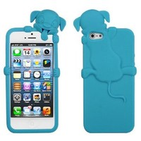 3D Silicone Dog Skin Tropical Teal Phone Case Cover for Apple iPhone 5