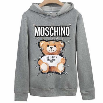Moschino 2018 autumn new pin bear couple models hooded sweater Grey
