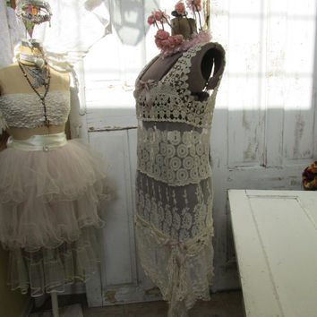 Handmade ivory lace mini dress up cycled sheer cover up sexy gypsy summer fashion by anita spero