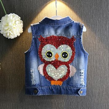 Trendy 1-7yrs Baby Girls Denim Vest Casual Sleeveless Jacket New 2017 Waistcoat Spring Summer Jean Vest Sequin Owl Button Girls Clothes AT_94_13