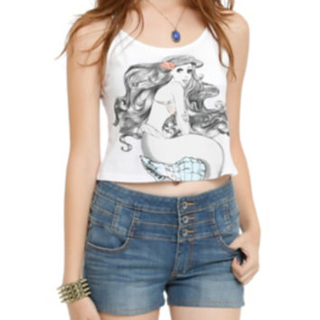 Disney The Little Mermaid Girls Crop Tank Top