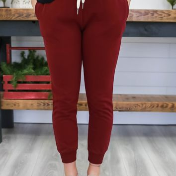Homebody Joggers - Burgundy
