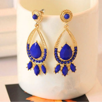 Korean earrings exaggerated long paragraph Freaky bohemian earrings (Color: Blue) = 1928381316