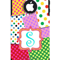 OTTERBOX COMMUTER iPhone 5 5S 5C 4/4S Case Custom - Polka -  Patchwork Party Name Initial Personalized Monogram
