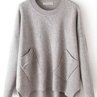 Grey Double Pocket Dip Hem Sweater