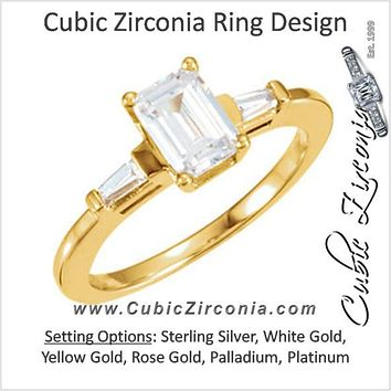 Cubic Zirconia Engagement Ring- The Isabella (Emerald Cut 3-stone with Tapered Baguette Channel Accents)