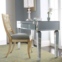 Mirrored Desk & Pillar Chair - Horchow