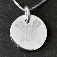 Sterling Silver 21 mm Circle Necklace Lacrosse Monogram | Lacrosse Necklaces | Lacrosse Jewelry | Sterling Silver Necklaces for Lacrosse Players