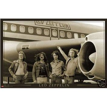 Led Zeppelin World Tour Plane 24x36 Premium Poster