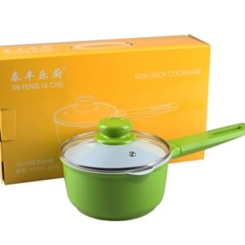 TAIFENG Nonstick Ceramic Cast Aluminum With Tempered Class Lid Sauce Pot,Green Milk Pan
