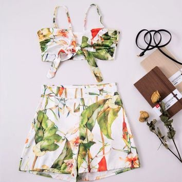 DCCK6HW Women Fashion Print Bow Sleeveless Strap Crop Tops Shorts Set Two-Piece