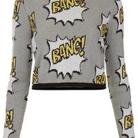 Knitted BANG Motif Crop Jumper - Knitwear - Clothing - Topshop USA