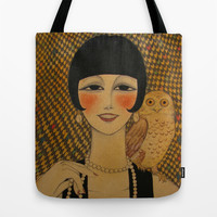 She said she worked in a cabaret singin' duets with an owl Tote Bag by Irene Raspollini