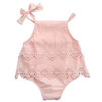 Newborn Baby Girls Lace Crocheted Romper Sleeveless Spaghetti straps Jumpsuit Outfit Sunsuit Flower Clothes 0-18M