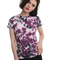 Purple & Grey Tie-Dye Girls T-Shirt