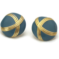 Cadet Blue and Gold Clip On Earrings - Vintage Round Clip Earrings - Blue Enamel and Gold Tone Abstract X Button Earrings