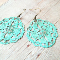 W I S H - Turquoise Blue Lace Circle Handpainted Antique Bronze Metal Filigree Dangle Earrings