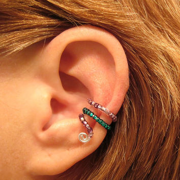 Ear Cuff  Beaded Cartilage Conch Cuff Non Piercing Seeded Loops Lavender Teal