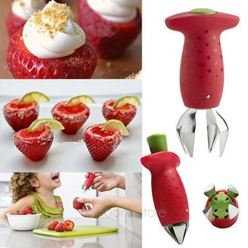 Fashion Funny Strawberry Stem Leaves Huller Remover Removal Fruit Corer Creative Stuff Kitchen Gadgets Tools = 1946649284