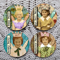 Here ComesTrouble -- Grumpy Little Fairies Vintage Photography Mousepad Coaster Set