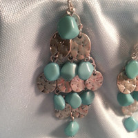 Beautiful Vintage Turquoise Earrings!  Silver Ovals with Turqouise Stones/Dangling Earrings/Women's Accessories/Fashion Design