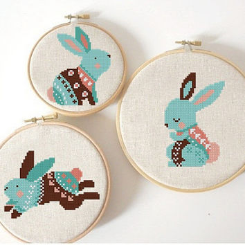 set of 3 Easter cross stitch pattern, Modern cross stitch pattern, Rabbit cross stitch, bunny cross stitch PDF Instant Digital Download