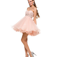 Nude Sweetheart Crystal Empire Waist Short Dress 2015 Homecoming Dresses