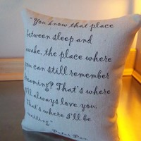 Peter Pan throw pillow cotton canvas pillow JM Barrie quote