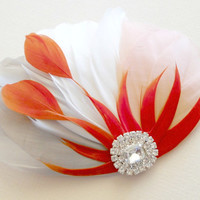 Wedding Bridesmaid Feather Hair Accessory, Feather Fascinator, Bridal, Hair PIece, Orange, Grey, Peach, White, Hair Clip
