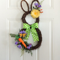 Carrot Grapevine Bunny Wreath Easter wreath Grapevine Rabbit Wreath Eggs Easter Door Hanger Decoration Spring Whimsical bunny wreath