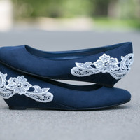 Wedding shoes - Navy blue ballet flat/low wedge wedding heel with ivory lace. US Size 7.5