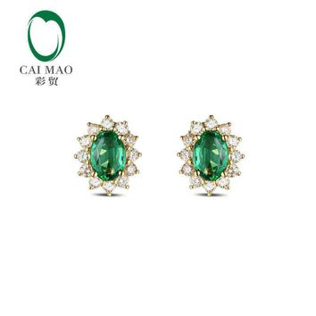 18KT Yellow Gold 1.42 ct Natural Emerald  0.75 ct Full Cut Diamond Halo Earrings