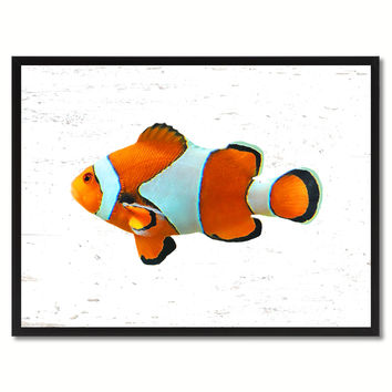 Orange Clown Tropical Fish Painting Reproduction Gifts Home Decor Wall Art Canvas Prints Picture Frames