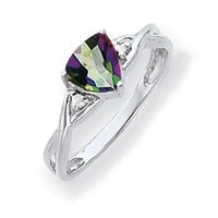 14k White Gold 6mm Trillion Mystic Fire Topaz and Diamond Twist Band Ring