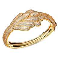 Sweet Look Cubic Zircon Deluxe Women Wedding Bangles ,Lead Free 18K Real Gold and Platinum Plated Bridal WeddingBangle,2 color available