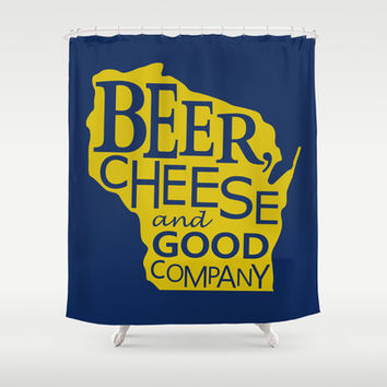 Blue and Gold Beer, Cheese and Good Company Wisconsin Graphic Shower Curtain by Zany Du Designs