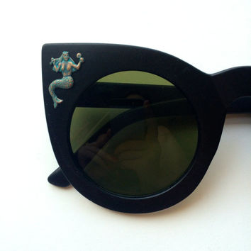 I'm Really A Mermaid- Round Cat Eye Sunglasses Embellished with vtg brass mermaids