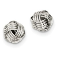 Small Sterling Silver Classic Love Knot Post Stud Earrings, .40 In (10mm)