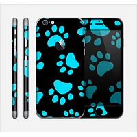 The Black & Turquoise Paw Print Skin for the Apple iPhone 6