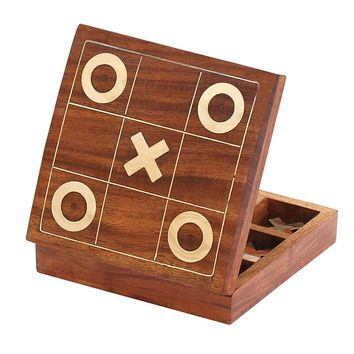 Handmade Tic Tac Toe XO Board Game With Metal Noughts and Crosses, Brown & Gold