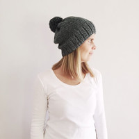 Grey Knit Hat with Pom Pom, Fall Winter hat, Natural Neutral hat, Rustic Warm Hand Knit Hat, Bobble hat, Ready to ship,by VeraJayne