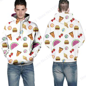 Cute Emoji Fruits Cookie Sweatshirt Men Full Sleeves Autumn Skateboarding Hoodies Pullover Lovers Hoody Couples Jacket White