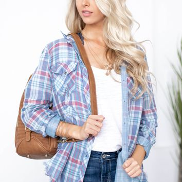 Country Chic Frayed Hem Plaid Top